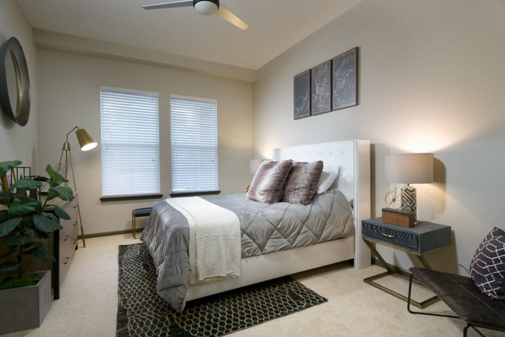 Large bedroom with ceiling fan at Bluebird Row in Chattanooga, Tennessee