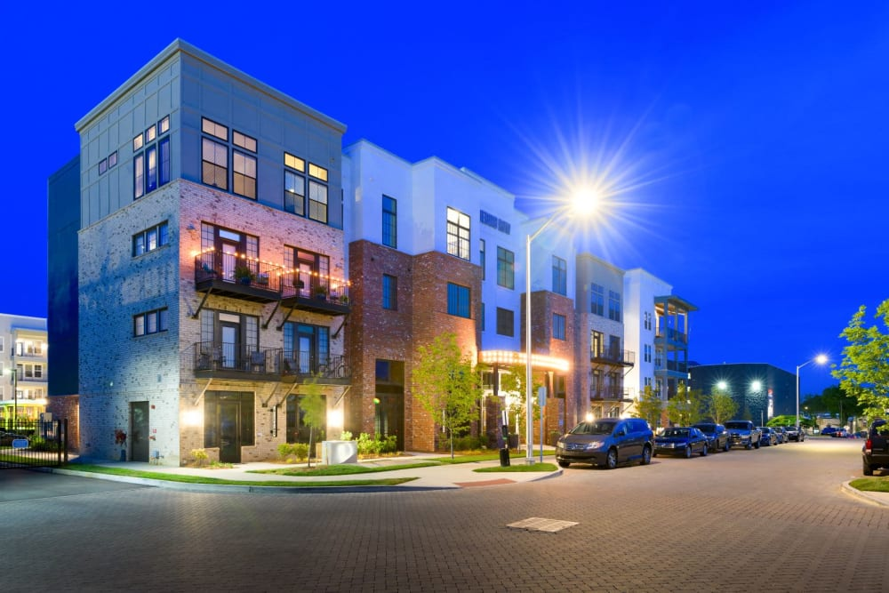Twilight exterior image with brick accents at Bluebird Row in Chattanooga, Tennessee