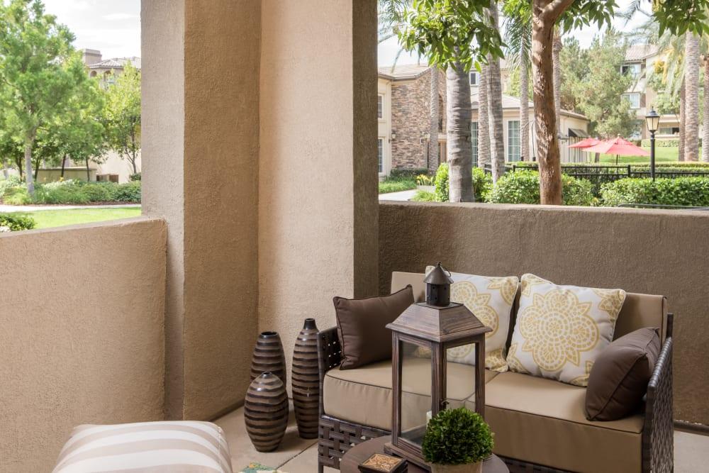 Back patio at Esplanade Apartment Homes in Riverside, California