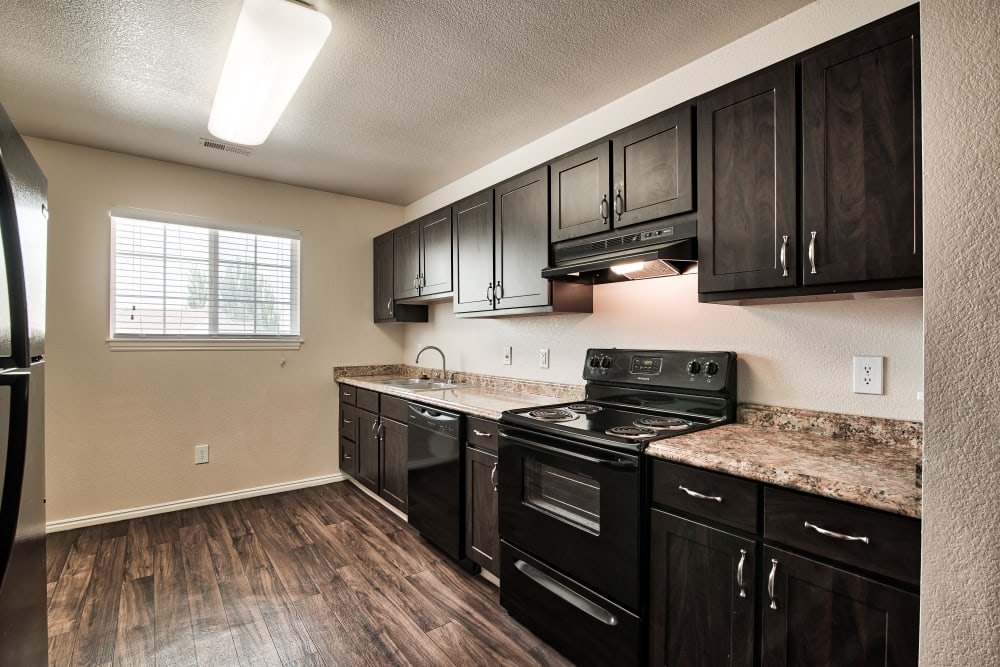 Kitchen at Cherry Lane Apartment Homes in Bountiful, Utah