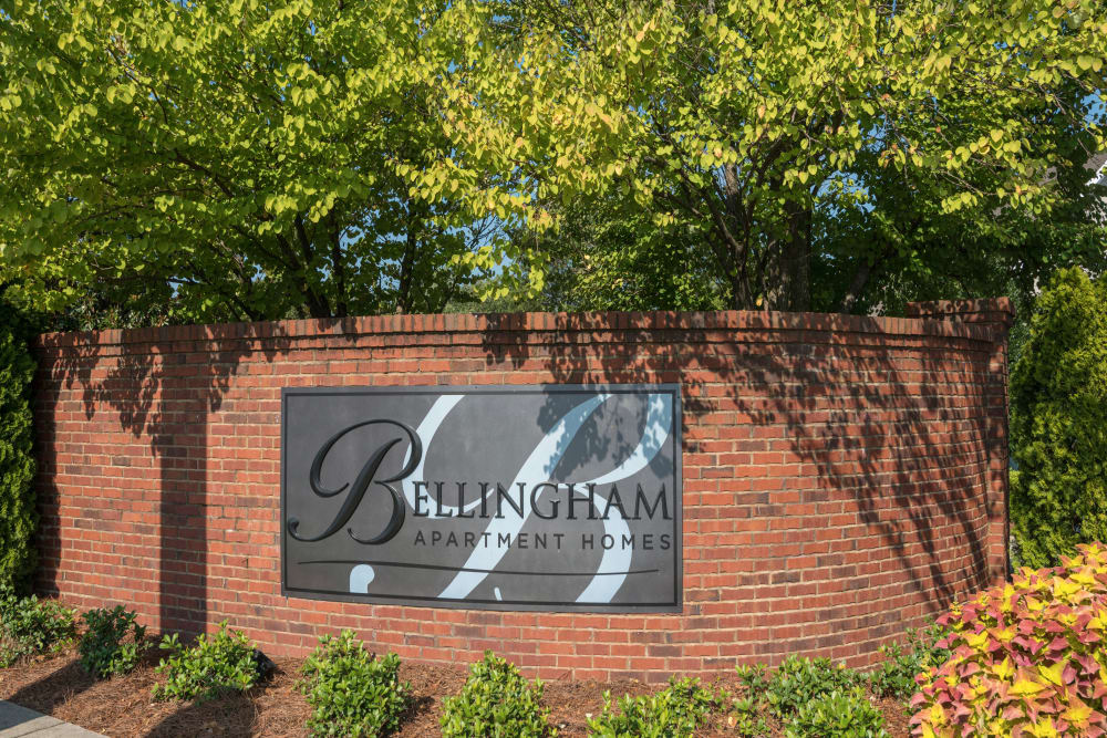Welcome sign to Bellingham Apartment Homes in Marietta, Georgia