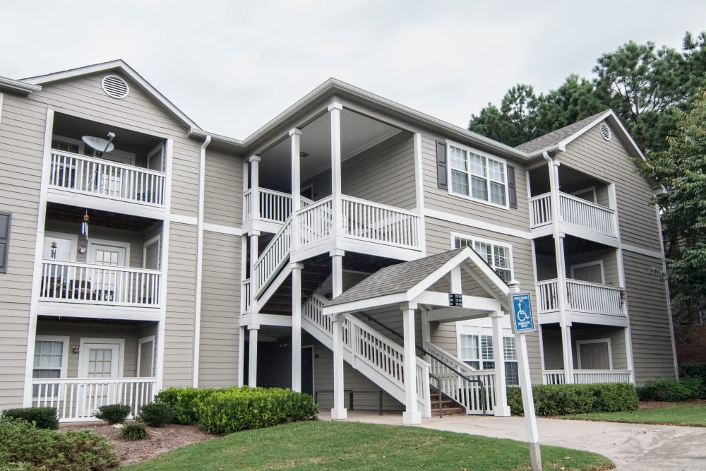 Stairway on the exterior of apartments at Bellingham Apartment Homes in Marietta, Georgia