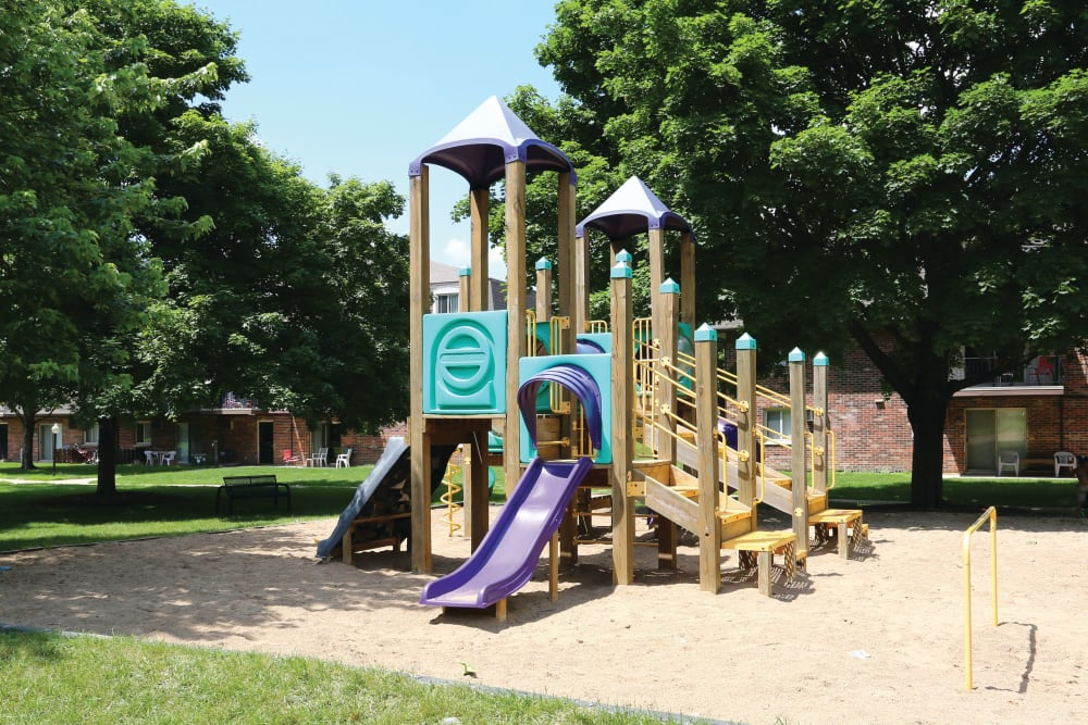 Playground structure and mature trees with green space at Blackhawk Apartments in Elgin, Illinois