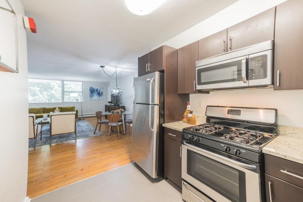 Kitchen featuring modern amenities such as stainless steel appliances at Cherokee Apartments in Philadelphia, Pennsylvania