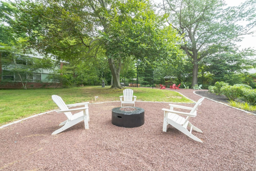 Outdoor fire pit featuring Adirondack chairs and mature trees in the background at Cherokee Apartments in Philadelphia, Pennsylvania