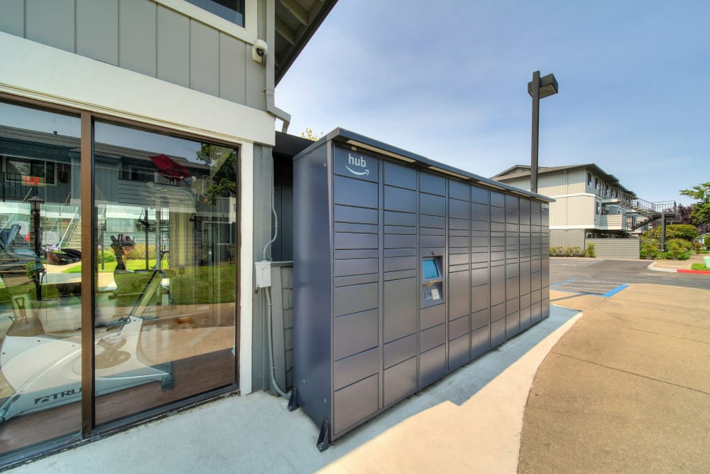 The convenient package lockers at Parkside Commons Apartments in San Leandro, California