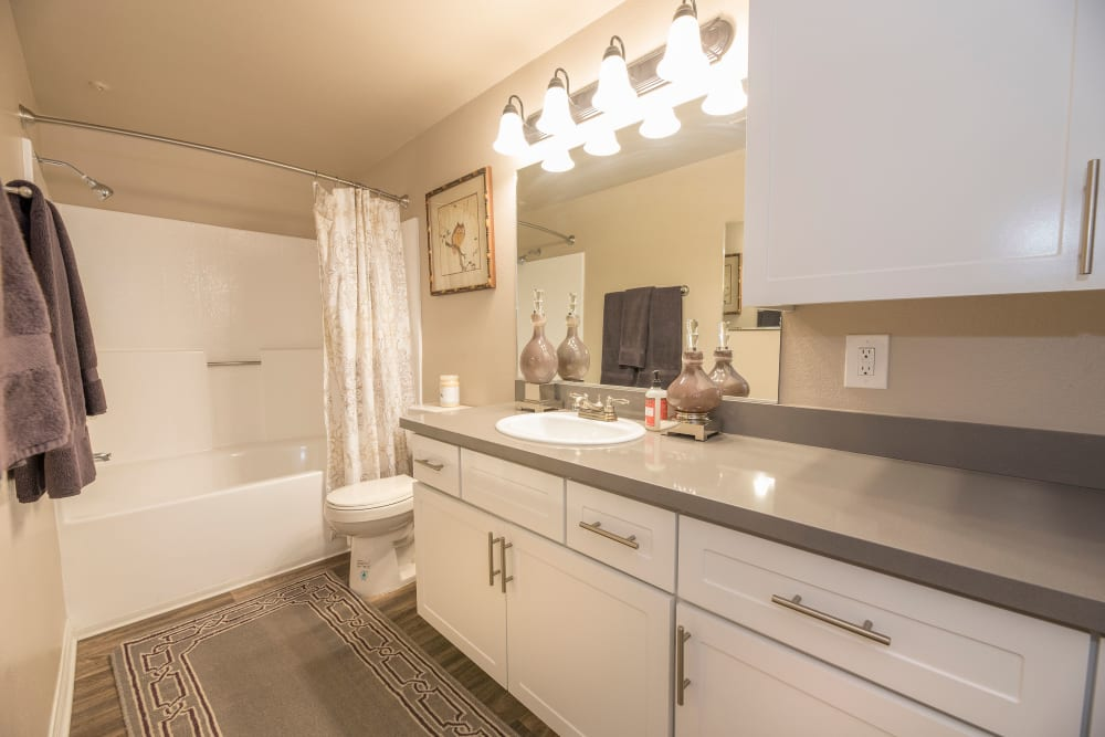 Large bathroom with plenty of cabinetry at Paloma Summit Condominium Rentals in Foothill Ranch, California