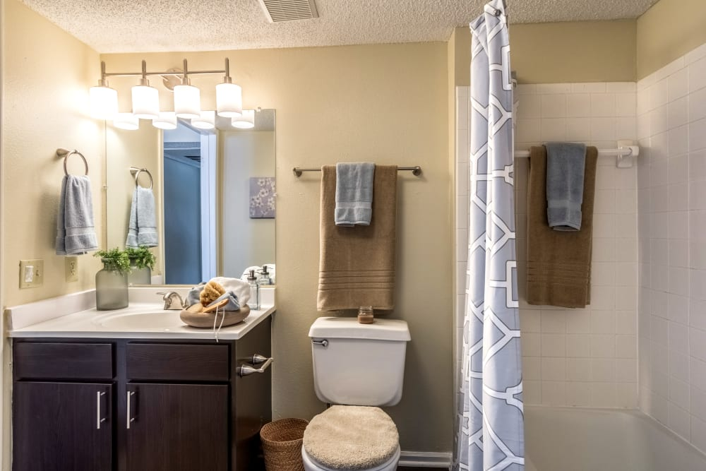 Comfortable bathroom with great lighting and a shower bathtub in an apartment at Britton Woods in Dublin, Ohio