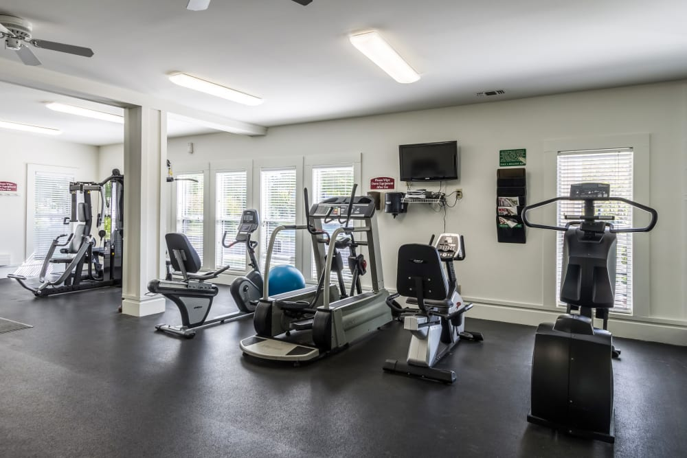 Fitness center featuring variety of workout equipment at Britton Woods in Dublin, Ohio