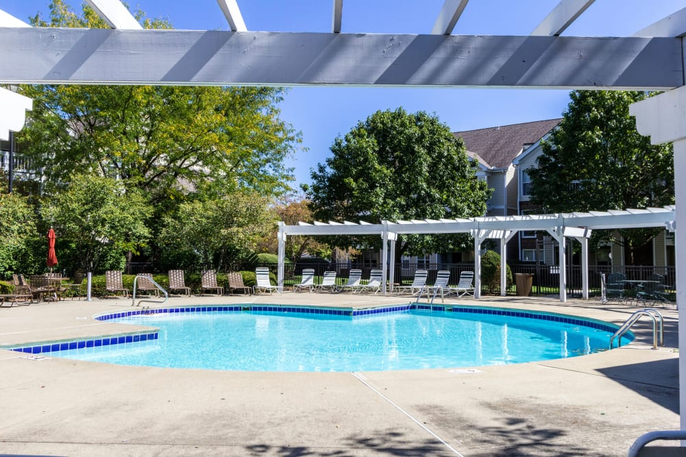 Shade structure by community pool at Britton Woods in Dublin, Ohio