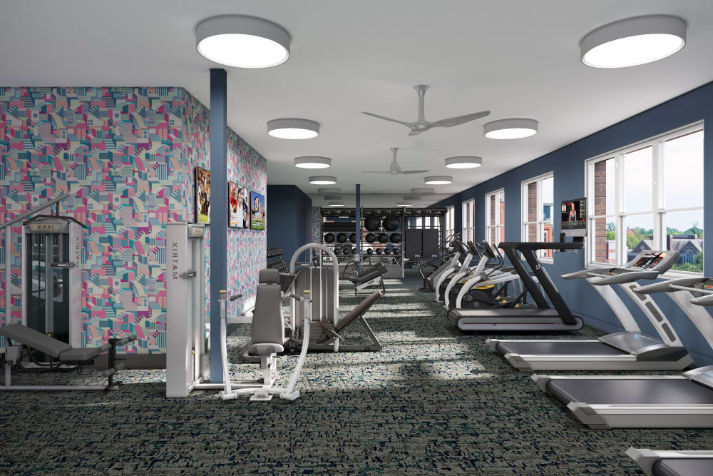 Fully equipped fitness center at UNCOMMON Auburn in Auburn, Alabama