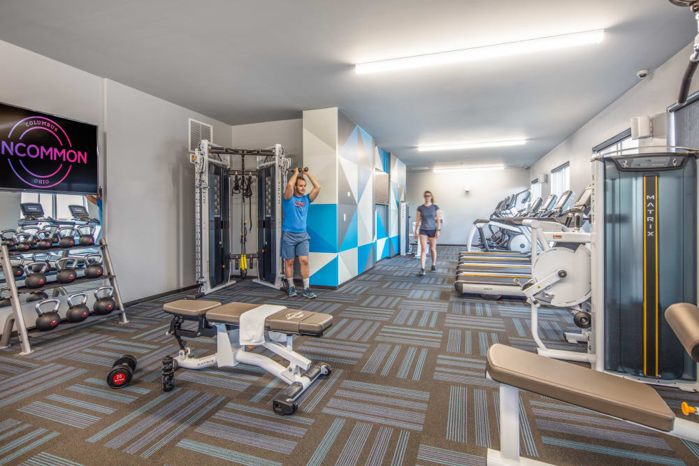State-of-the-art fitness center at UNCOMMON Columbus in Columbus, Ohio