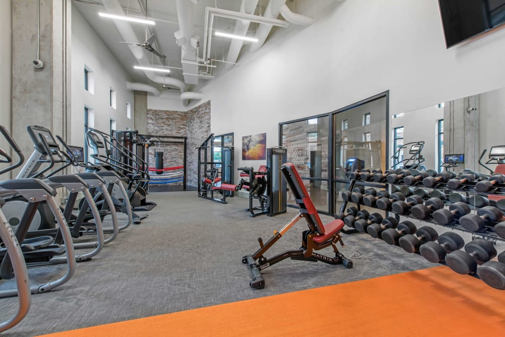 Well equipped fitness center at UNCOMMON Fort Collins in Fort Collins, Colorado