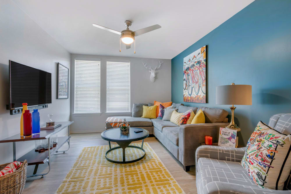 Spacious living room at UNCOMMON Oxford in Oxford, Mississippi
