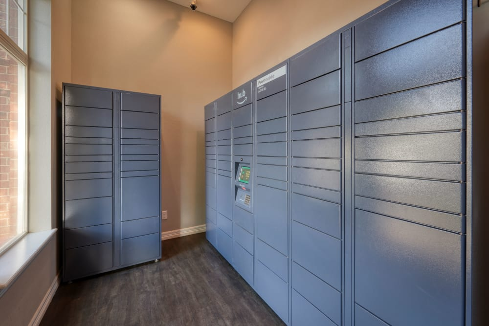 The convenient package room at Promenade at Hunter's Glen Apartments in Thornton, Colorado