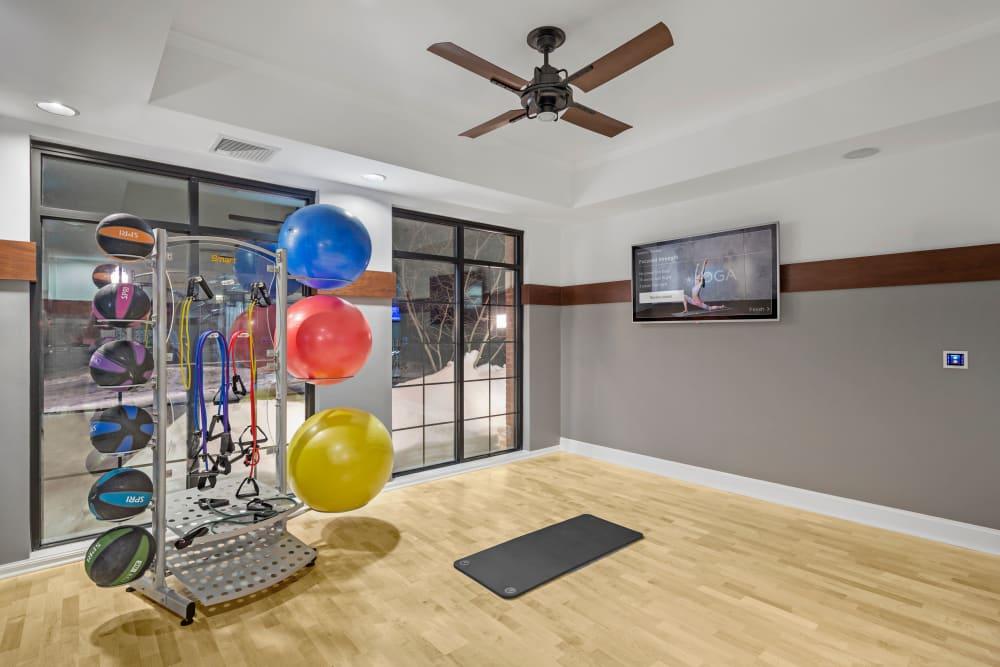 Exercise equipment in fitness room at Bradlee Danvers in Danvers, Massachusetts