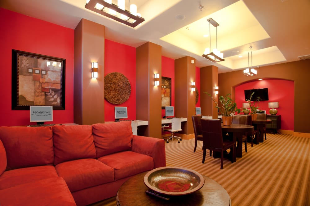 red is the theme color of the stylish Clubhouse at Broadstone Towne Center in Albuquerque, New Mexico which features red walls and red furniture