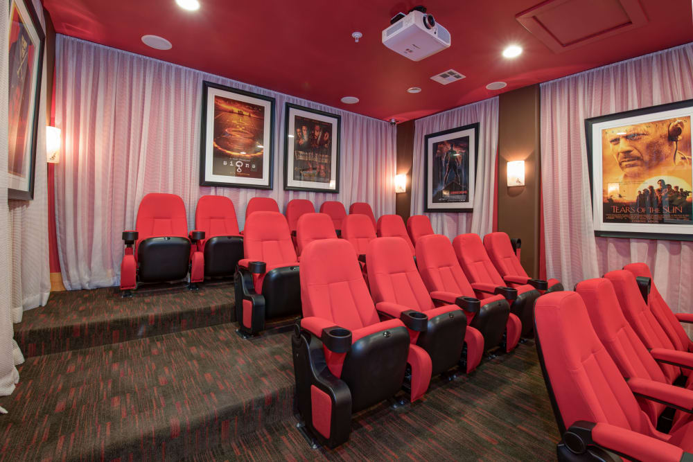 Community stadium seating style movie theater room at Broadstone Towne Center in Albuquerque, New Mexico