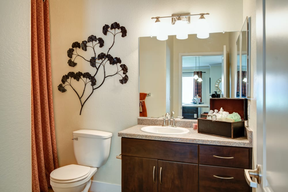 Bathroom with large vanity mirror and bright vanity lights at Broadstone Towne Center in Albuquerque, New Mexico