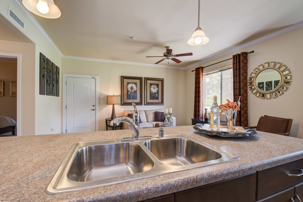 View from Kitchen featuring double sink and Apple countertop space towards living room at Broadstone Towne Center in Albuquerque, New Mexico
