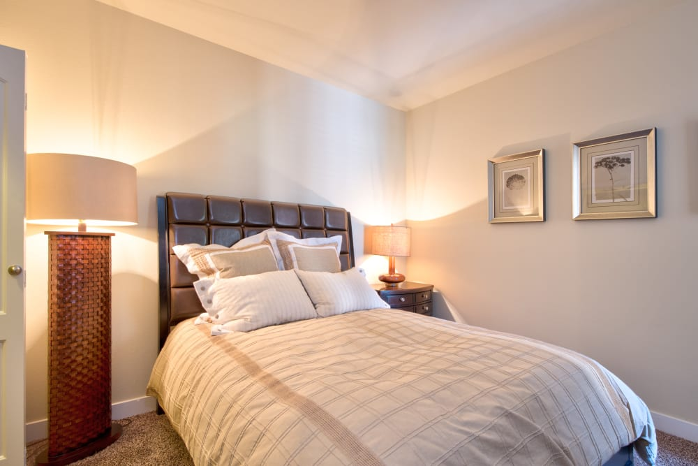 Comfortable bedroom featuring standing lamps and a bed with many pillows at Broadstone Towne Center in Albuquerque, New Mexico