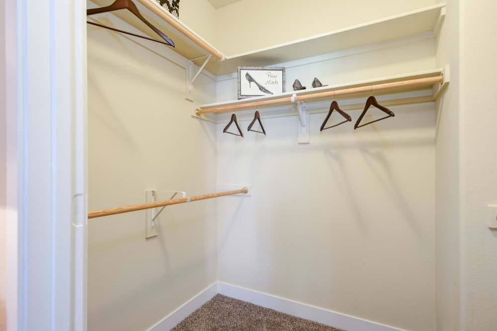 Spacious closet with lots of hanging and shelf space at Broadstone Towne Center in Albuquerque, New Mexico