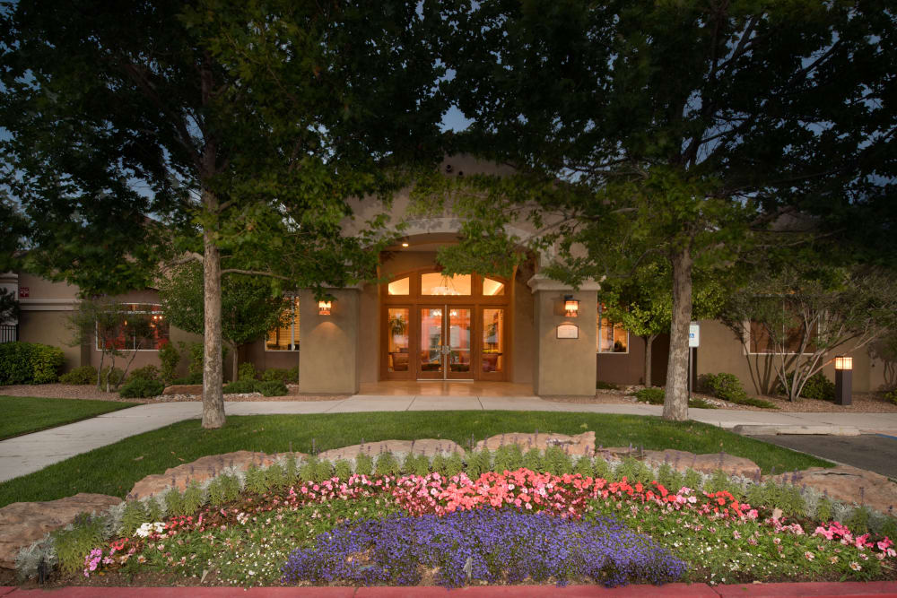 Garden outside the clubhouse in the evening at Broadstone Towne Center in Albuquerque, New Mexico