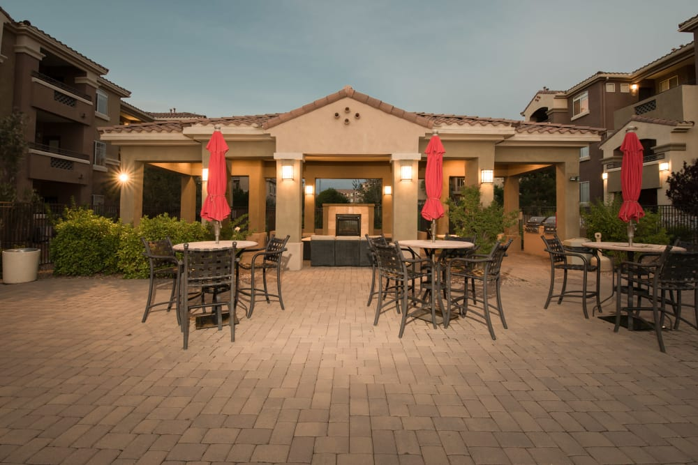 Patio seating outside of Clubhouse in the early evening late at Broadstone Towne Center in Albuquerque, New Mexico