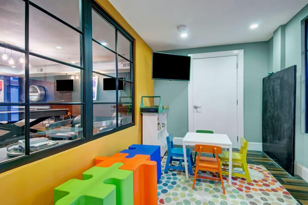 Childcare room by fitness center at Bradlee Danvers in Danvers, Massachusetts