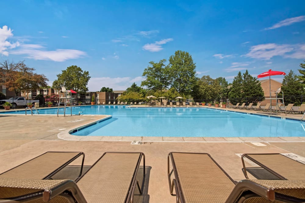 Lounge chairs by the swimming pool at Cinnamon Run at Peppertree Farm in Silver Spring, Maryland