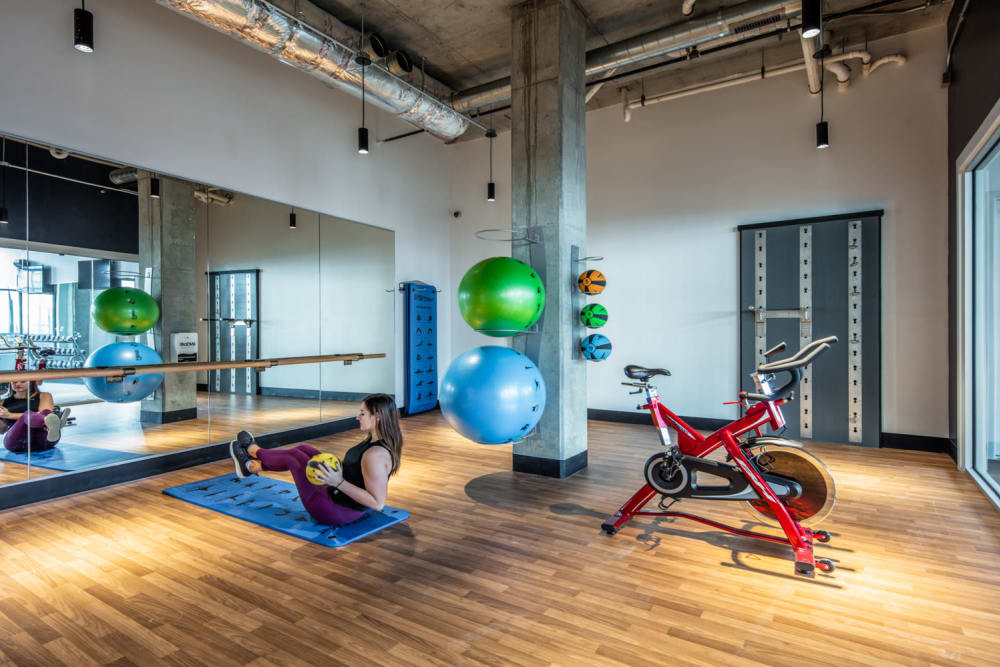 Yoga studio with spin bikes at evolve Bloomington in Bloomington, Indiana