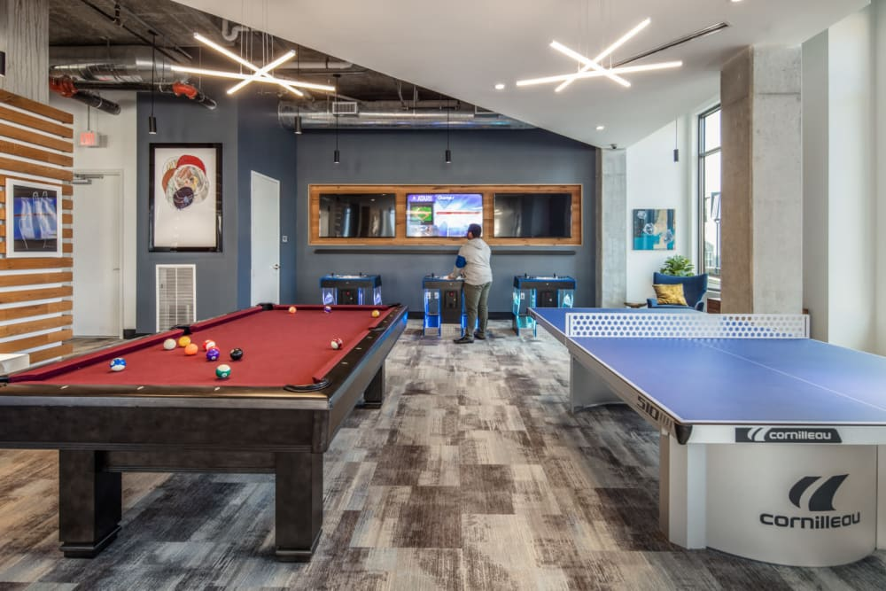 Game room at evolve Bloomington in Bloomington, Indiana