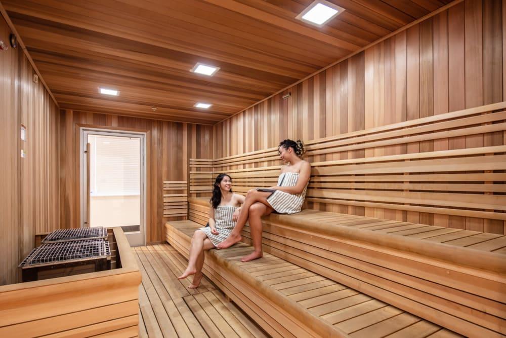 Onsite community sauna at evolve Bloomington in Bloomington, Indiana