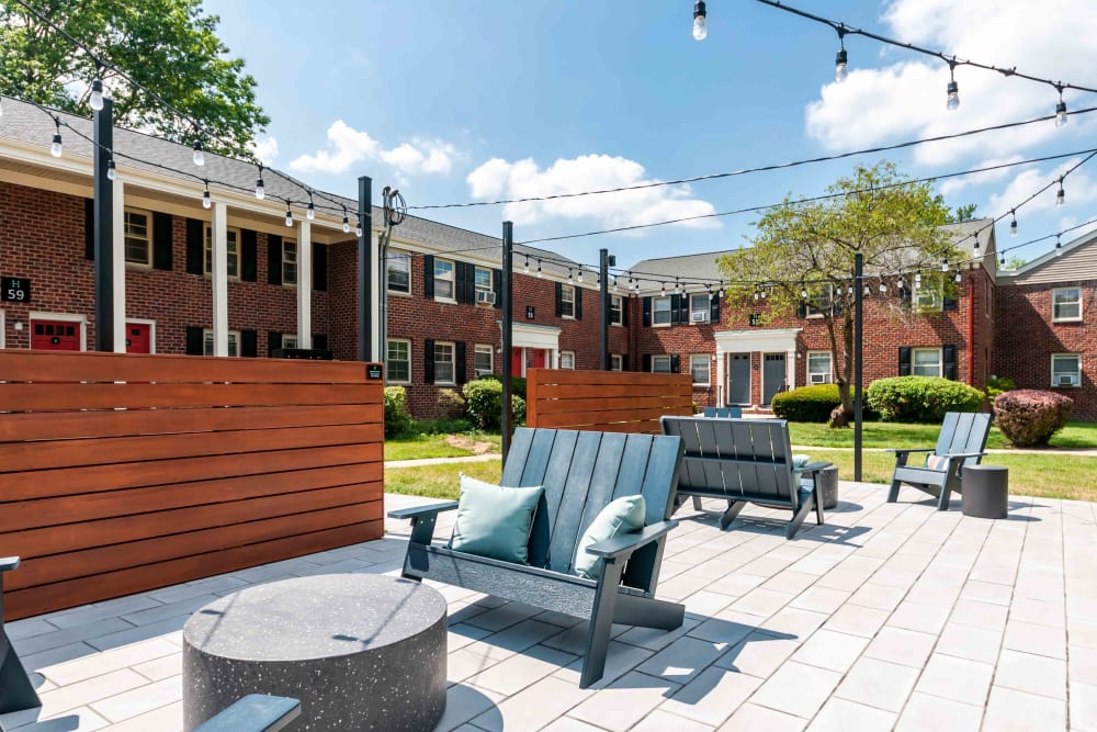 Comfortable outdoor patio seating at Haven New Providence in New Providence, New Jersey