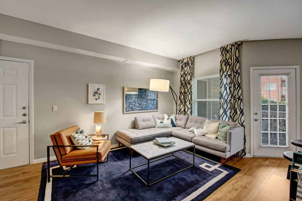 Living room at Woodway at Trinity Centre in Centreville, Virginia