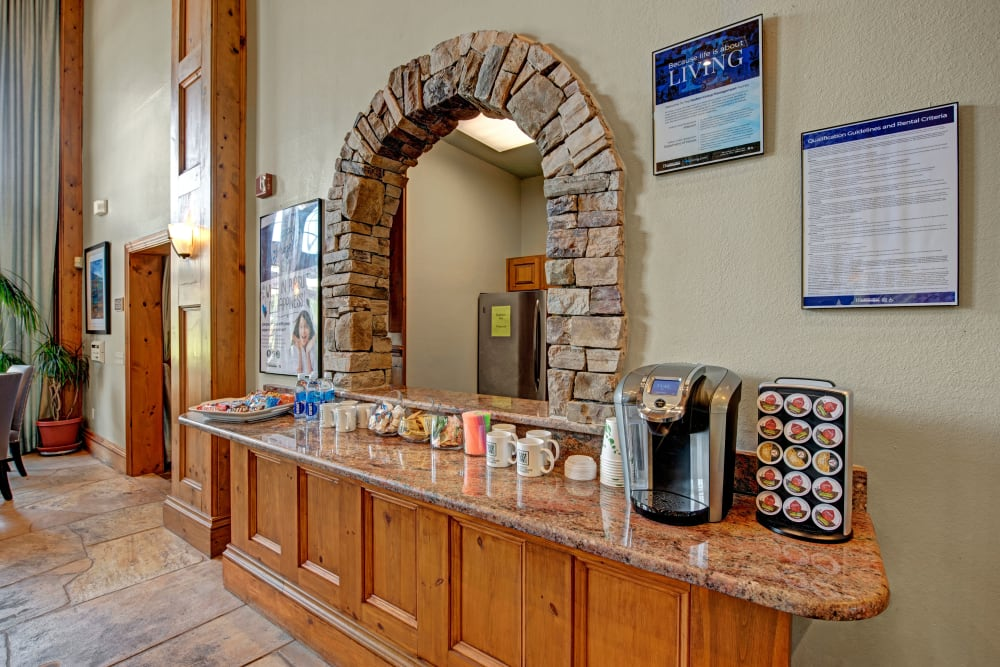 Front desk at Woodway at Trinity Centre in Centreville, Virginia