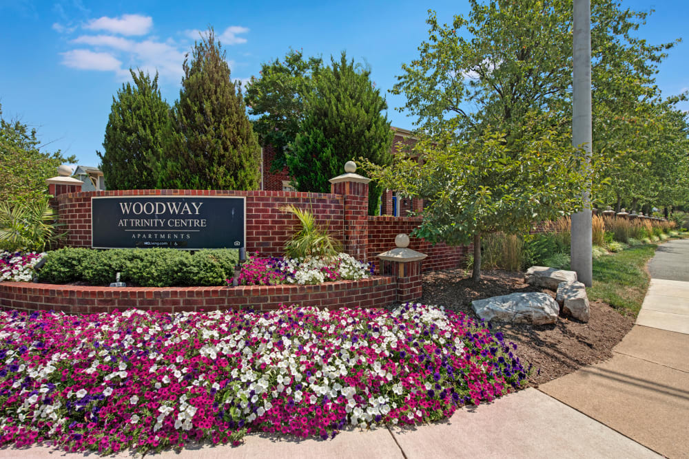 Entry sign at Woodway at Trinity Centre in Centreville, Virginia