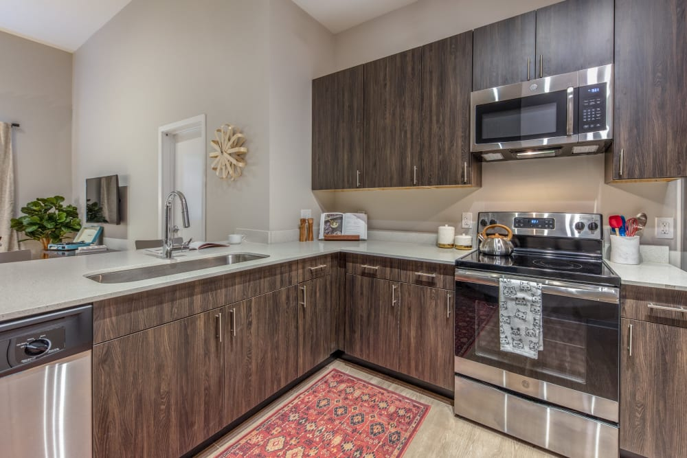 Kitchen with plenty of cabinet space at evolve Bloomington in Bloomington, Indiana