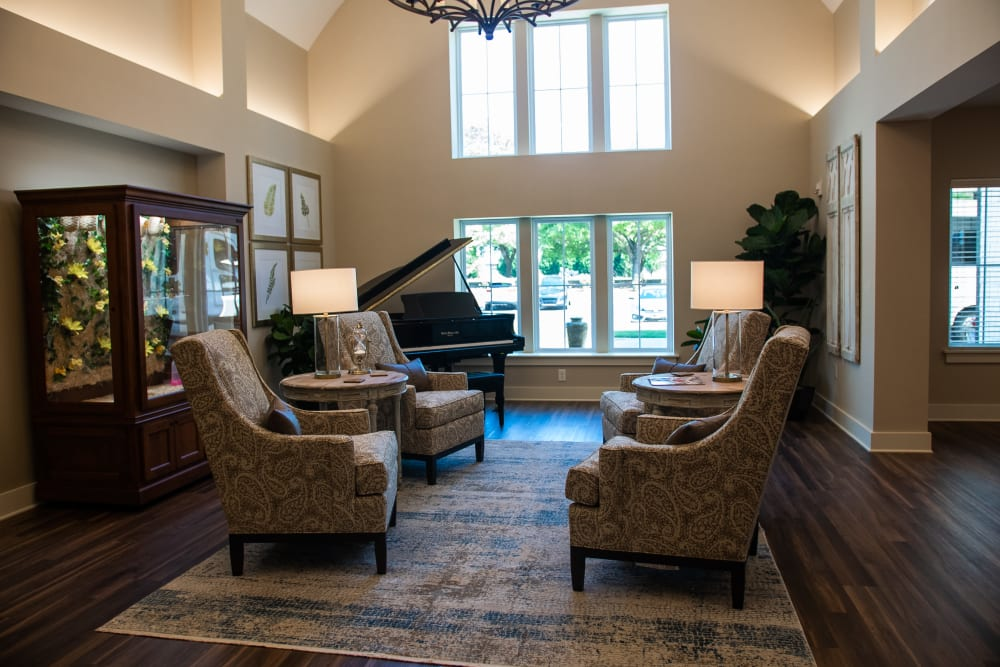 Inviting entrance lobby with comfortable seating at Westminster Memory Care in Aiken, South Carolina
