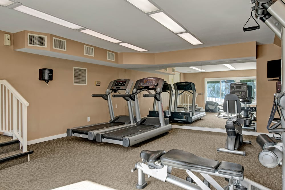 Treadmills in the fitness center at West Springfield Terrace in Springfield, Virginia