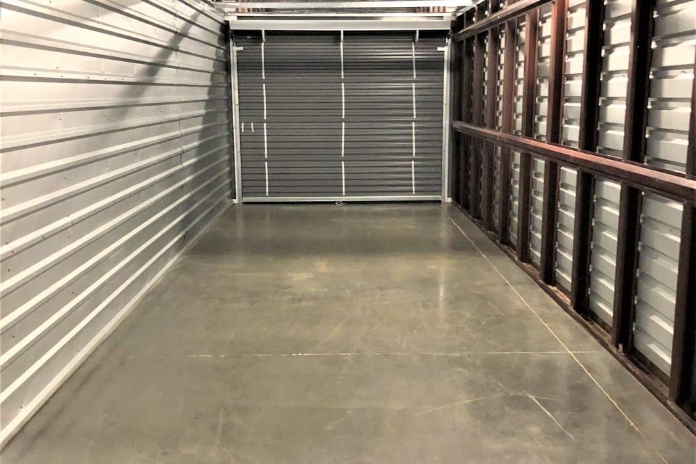 Inside of a large storage unit at My Neighborhood Storage Center in Durham, North Carolina