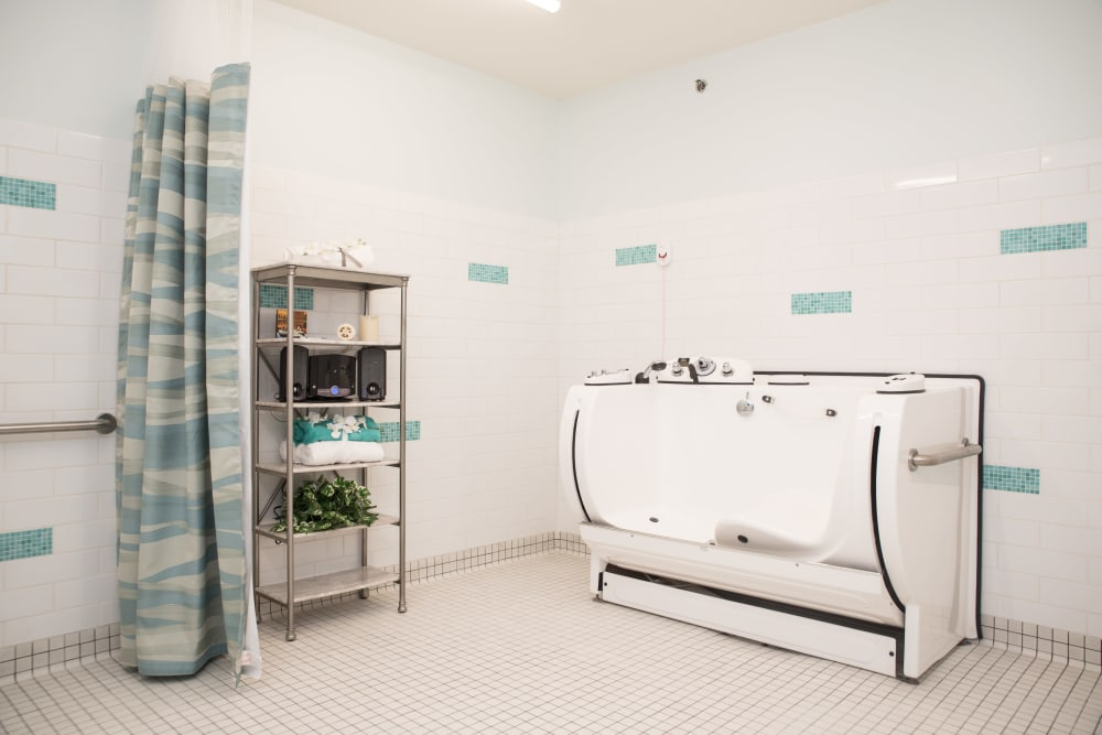 accessible bathroom with a high-tech bathtub at Gateway Springs Health Campus in Hamilton, Ohio