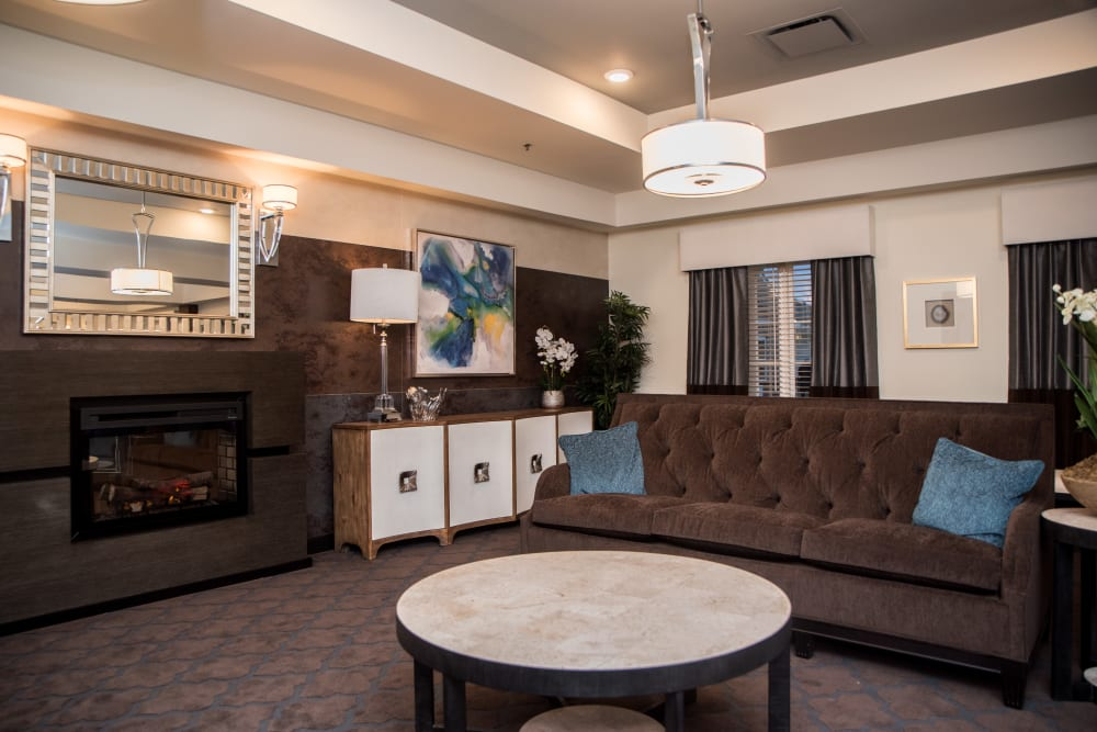 fireplace lounge inside Gateway Springs Health Campus in Hamilton, Ohio