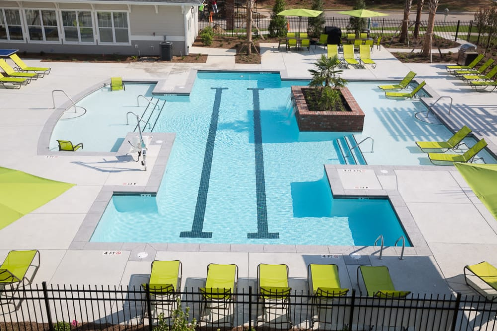 Aerial view of the swimming pool at Ansley Commons Apartment Homes in Ladson, South Carolina