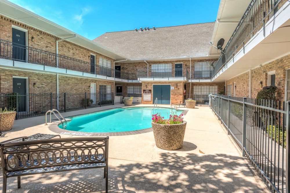 Pool courtyard at The Villages at Meyerland Houston, TX