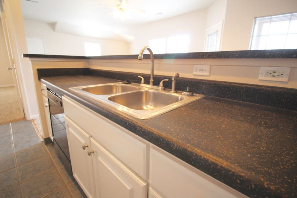 Kitchen counter at Timber Lakes Apartment Homes in Kansas City, Missouri