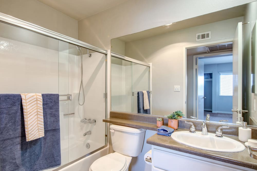 A cozy apartment bathroom at Vue at Laurel Canyon in Valley Village, California