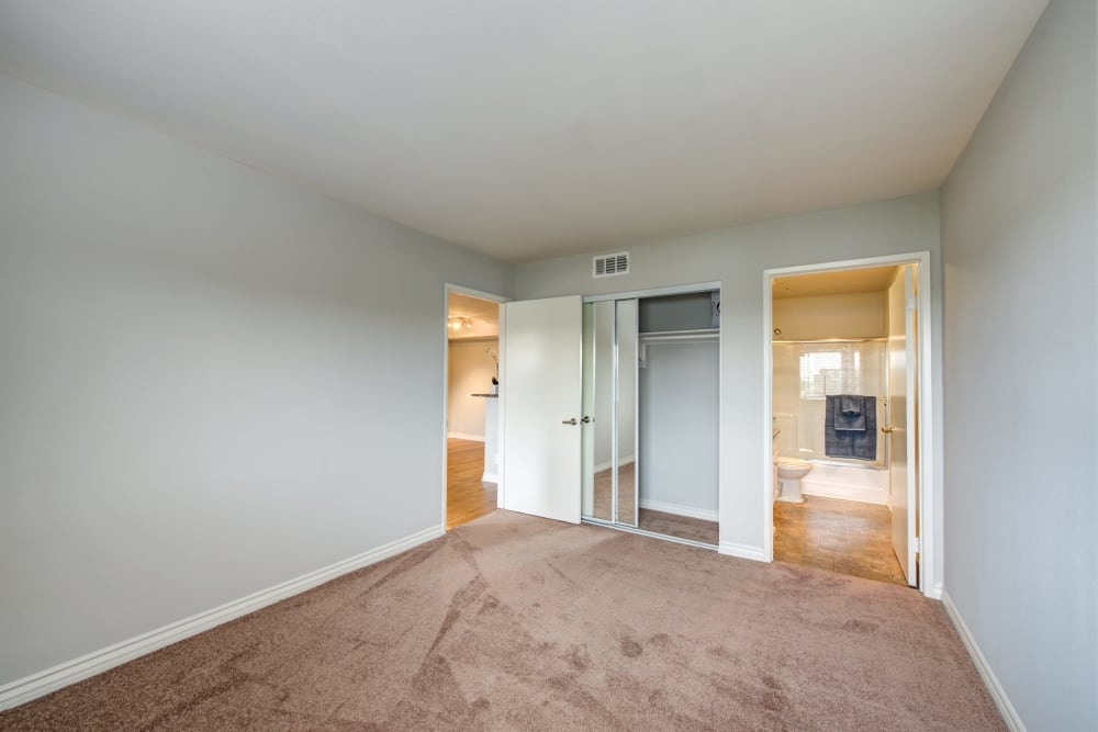 A large apartment bedroom with closet at Vue at Laurel Canyon in Valley Village, California