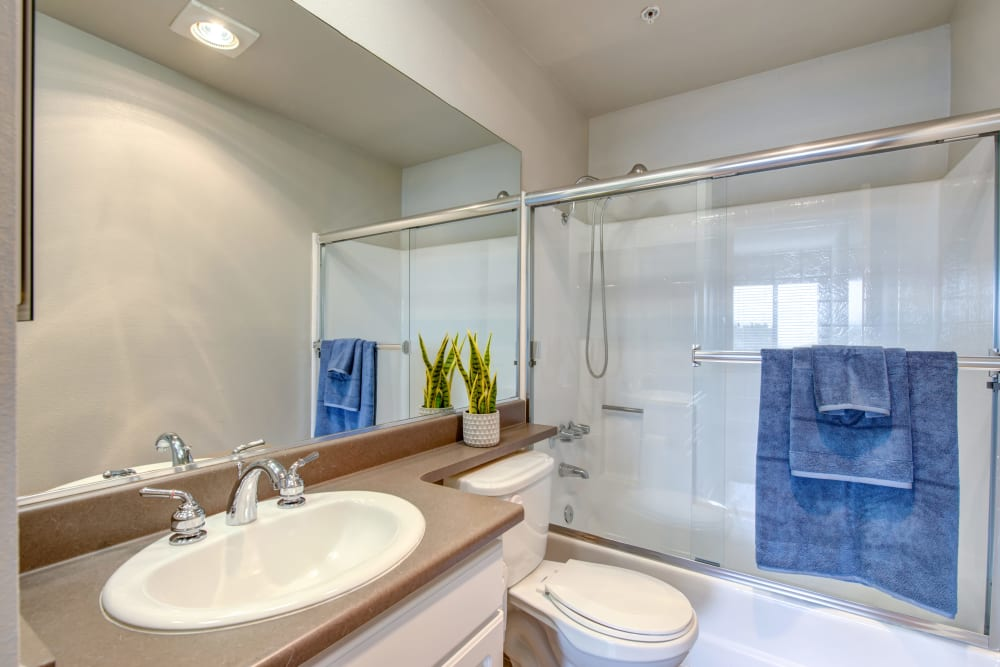 An apartment bathroom at Vue at Laurel Canyon in Valley Village, California