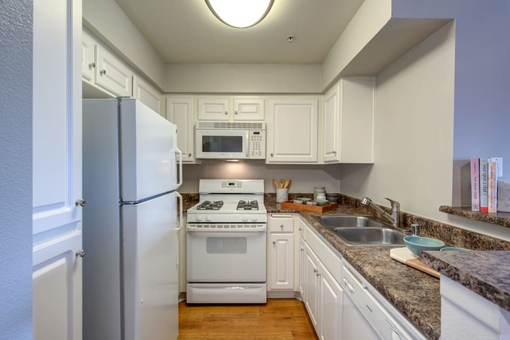 An apartment kitchen at Vue at Laurel Canyon in Valley Village, California